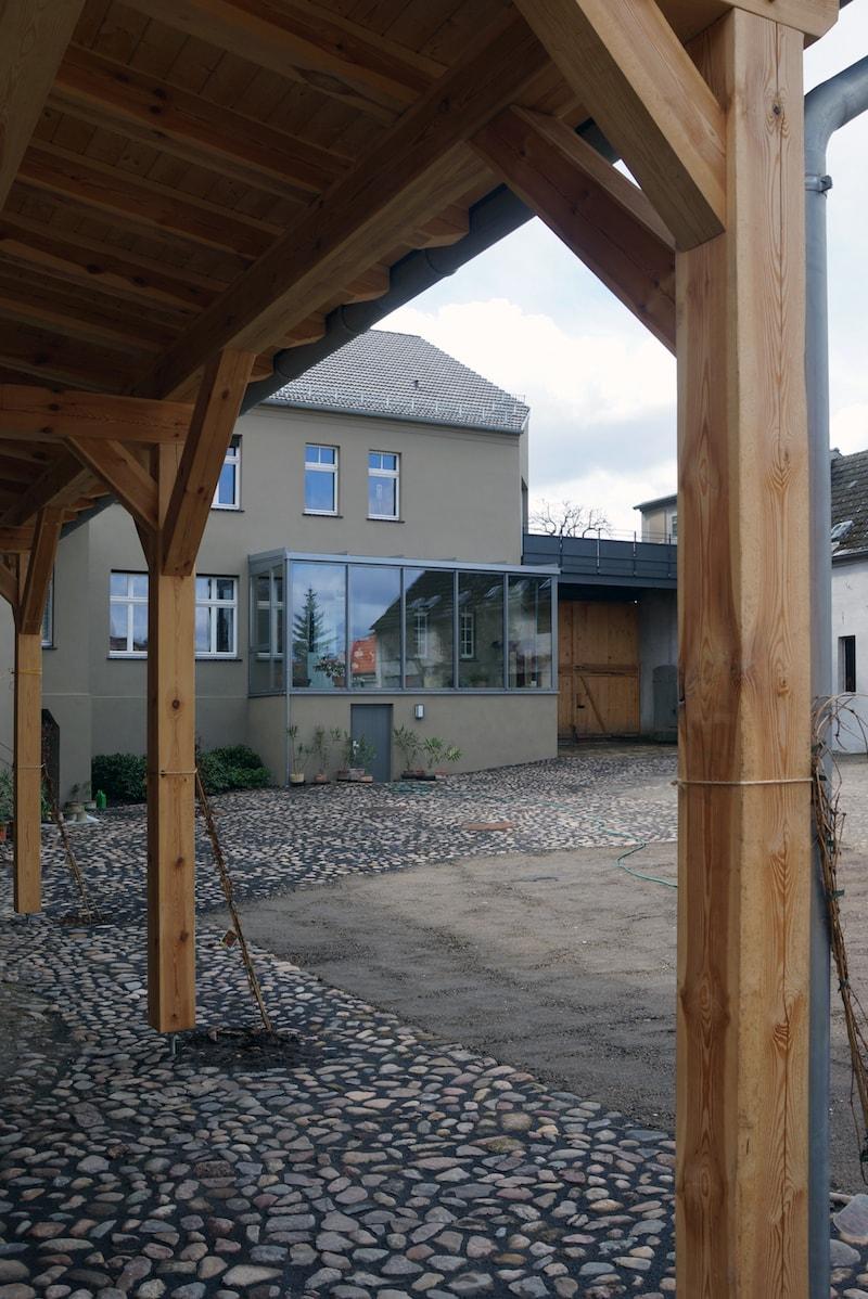 Vierseitenmühlenhof in Gräben / Brandenburg – Hofblick