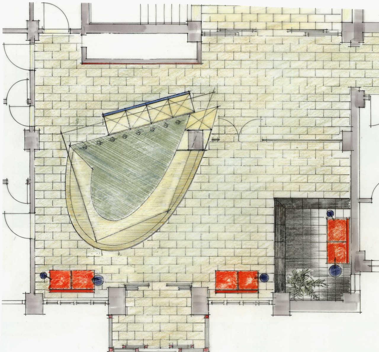 Foyergestaltung Jenapharm AG, Jena – Zeichnung  Grundriss