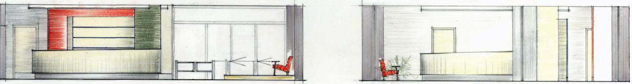 Foyergestaltung Jenapharm AG, Jena – Zeichnung Ansicht